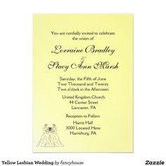 Yellow Lesbian Wedding Card