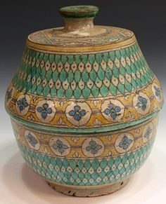 ANTIQUE MOROCCAN POTTERY COVERED SERVICE TUREENS : Lot 404
