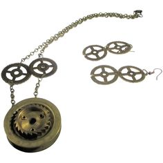 Vintage Upcycled Clock and Watch Parts Necklace and Pierced Earring Set Upcycle Home, Watch Gears, Clock Parts, Upcycled Vintage, Style And Grace, Jewelry Sets, Earring Set, Pendant Necklace, Watches