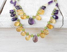 Amethyst and Citrine Layered Necklace, Double Strand Natural Multi Gemstone Necklace, Statement Glamorous Necklace, Gemstone Jewelry Pink Jewelry, Fashion Jewelry Necklaces, Custom Jewelry, Jewelry Art, Jewelery, Purple Necklace, Gemstone Necklace, Beaded Necklace, Layered Necklace