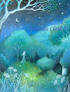Een sprookje art print. 'Moon'. door Amanda Clark.
