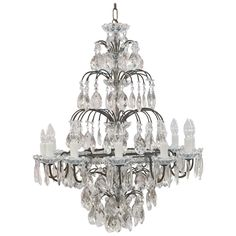 Large Twelve-Light Crystal Drop Hanging Fixture or Chandelier | From a unique collection of antique and modern chandeliers and pendants at https://www.1stdibs.com/furniture/lighting/chandeliers-pendant-lights/