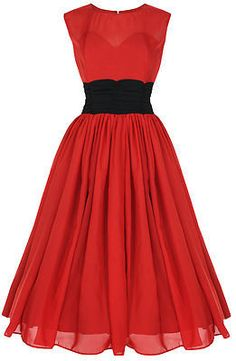 Red dress with chiffon skirt and black sash<< nice simplicity. it's so simple that it's cute!
