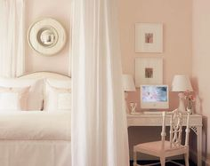 White Dogwood pink paint color by Sherwin Williams. This pink feminine bedroom designed by Phoebe Howard is inspiring us today! Come see the Best Sophisticated, Chic and Subtle Pink Paint Colors on Hello Lovely Studio! Pink Bedrooms, Pink Paint Colors, Beautiful Bedrooms, Pink Room, Pink Girl Room, Home, Pale Pink Bedrooms, Room Colors, Sherwin Williams White