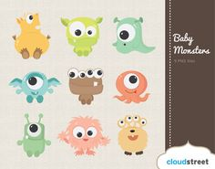 buy 2 get 1 free Cute Baby Monsters Clipart for Personal and Commercial Use ( cute baby monster clip art )