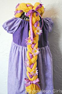 Chameleon Girls: How to make a Rapunzel Wig from Yarn