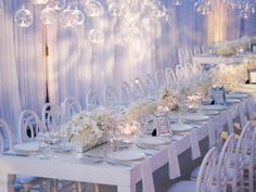 Orchid, Hydrangea + Glass Hanging Centerpiece