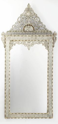 A SYRIAN MOTHER-OF-PEARL INLAID MIRROR
