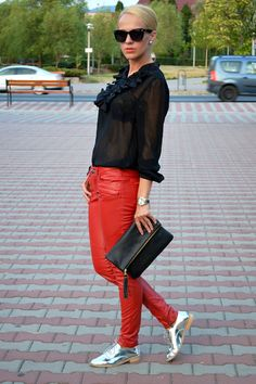 25 Ways to Wear Metallic Flats - red leather pants, sheer black blouse + metallic oxfords | StyleCaster