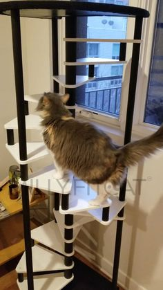 Cat Tree 18 Step Spiral Tower Best Cat Furniture Idea Cat   Etsy Modern Cat Furniture, Pet Furniture, Cat Climber, Cat Stairs, Cat Exercise, Stair Climbing, Cat Activity, Cat Perch, Cat Tree