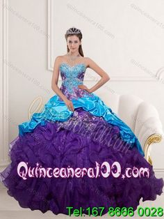 8996fb10d76 Inexpensive 2015 Multi Color Quinceanera Dresses with Beading and Ruffles
