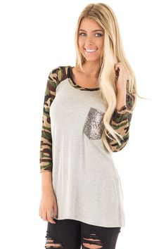 Lime Lush Boutique - Heather Grey and Camouflage Tee with Sequin Pocket Detail, $29.99 (https://www.limelush.com/heather-grey-and-camouflage-tee-with-sequin-pocket-detail/)