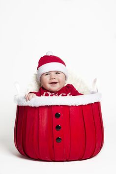 Happy Baby by Jesse Rinka on 500px. Adorable infant christmas card photo idea! Santa basket.
