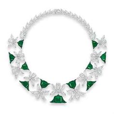 A MAGNIFICENT EMERALD AND DIAMOND 'PALMETTE' NECKLACE, BY EDMOND CHIN FOR THE HOUSE OF BOGHOSSIAN - Designed as a series of eleven palmette motifs with circular-cut emerald detail, each set to the centre with a rectangular-cut emerald, weighing approximately 12.34 to 3.00 carats, alternating with vari-cut diamond foliate links, extending to the backchain, mounted in gold, 43.0 cm. Auction Estimate $3,625,941 - $4,920,920 USD