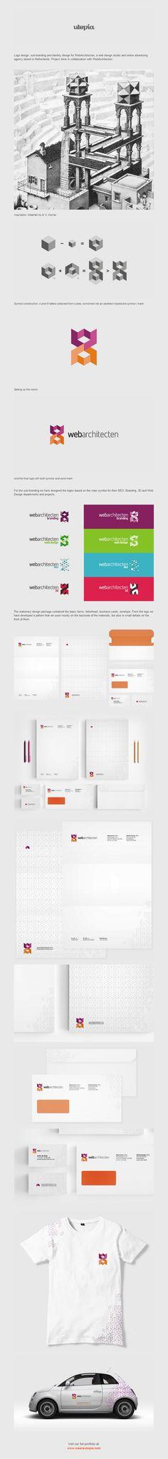 Logo design, sub-branding and identity design for WebArchitecten, a web design studio and online advertising agency based in Netherlands.
