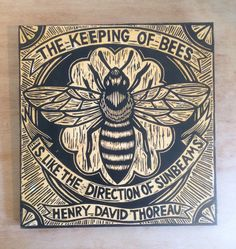 Items similar to Bee Decor - Woodcut Bee Art - Henry David Thoreau Quote - Author Quote Decor - Bee Keeper Gifts - Bee Keeping Art on Etsy Woodcut Art, I Love Bees, Bee Art, Bee Happy, Save The Bees, Bees Knees, Wood Print, Wall Art Prints, Artwork Wall