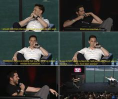 Tom Hiddleston & Zachery Levi If you've never watched this interview, it is a good one. You might want to look it up.