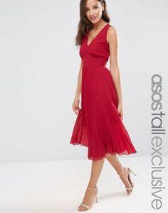 ASOS TALL Pleated Midi Dress