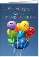 7th Birthday Card for Great Granddaughter colored balloons Card by Greeting Card Universe. $3.00. 5 x 7 inch premium quality folded paper greeting card. Greeting Card Universe offers the largest selection of birthday cards on the web. We will mail the cards to you or direct to your loved ones. Send a paper birthday card from Greeting Card Universe this year. This paper card includes the following themes: photo, photography, and studio porto sabbia. Set your birthday ca...