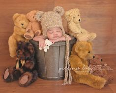 Adorable African American baby boy sleeping in pail surrounded by bears wearing a teddy bear hat. bucket metal cute funny unique Precious Baby Photography by Angela Forker Fort Wayne New Haven Indiana