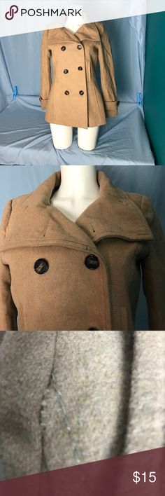 Thread & Supply Wool Peacoat Tan peacoat. Buttons up the front. Small flaw on shoulder see pic. One interior button missing doesn't affect how the coat closes plus extra button included. Price reflects the above Thread & Supply Jackets & Coats Pea Coats