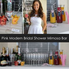 Pink Modern Bridal Shower Mimosa Bar