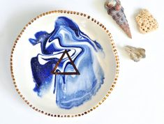 BERMUDA FLARE - Ocean Jewellery Bowl - Blue Marbling - Copper Lustre - Stoneware Clay - Made to Order - Free Postage Australia Wide