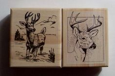 Deer Lot of 2 New Mounted Rubber Stamps $12.00 by ArtStampStudio on Etsy