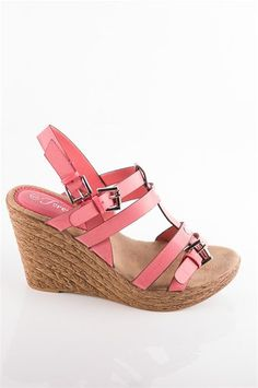 Cork Sandal Wedge with Buckle - Pink at Lucky 21 Lucky 21