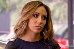 Melissa Gorga's Blue Tee with Black Leather Sleeves | Big Blonde Hair : Big Blonde Hair http://www.bigblondehair.com/real-housewives/rhonj/melissa-gorgas-blue-tee-black-leather-sleeves/ Real Housewives of New Jersey Fashion