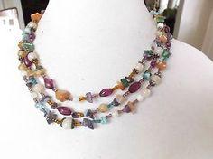 Three Strand Tumbled Stone and Acrylic Beaded Necklace | eBay