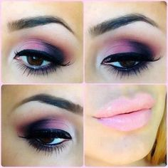Beautiful doll makeup: purple shadow and pink lips