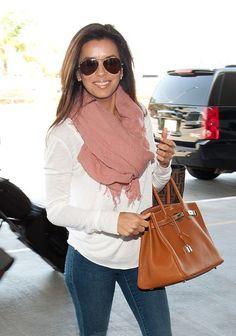 basics & accessories (peach scarf, leather handbag & aviator sunglasses)  Eva Longoria