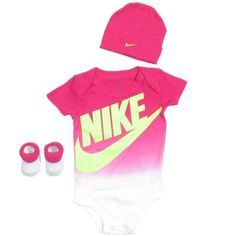 Nike Baby Girl Clothes Cool Nike Baby Girls' 3Piece Dot Bodysuit Hat & Booties Set  Babies Design Inspiration