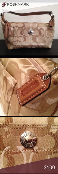 Coach signature mini hobo Signature mini hobo. Super cute, and in perfect condition! No signs of wear. Make an offer. Coach Bags Mini Bags