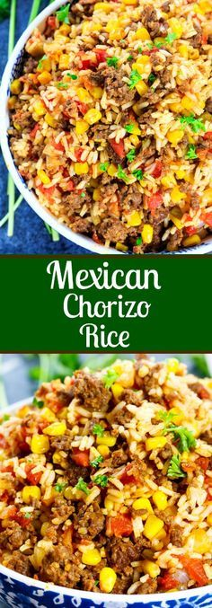 Mexican Chorizo Rice is a fully flavored and spicy rice dish that goes great wit. - Mexican Chorizo Rice is a fully flavored and spicy rice dish that goes great with tacos, quesadilla - Rice Recipes, Pasta Recipes, Mexican Food Recipes, Chicken Recipes, Cooking Recipes, Healthy Recipes, Ethnic Recipes, Healthy Mexican Food, Recipes Using Vegan Chorizo