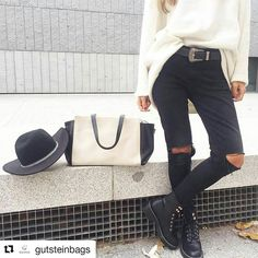 Hay mezclas que siempre funcionan: Black&White!  Disponible en nuestra #eshop!    #Repost @gutsteinbags with @repostapp   #GutsteinBags #bluepopelina #ootd #leatherbag #handmadeinspain #slowfashion