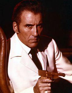James Bond villain Christopher Lee as Francisco Scaramanga in The Man with the Golden Gun