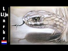 SLANG tekenen met pastel en potlood gekleurd papier - YouTube