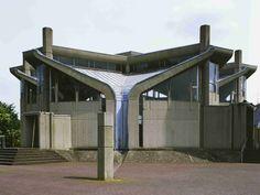 """germanpostwarmodern:Church """"Heilig Geist"""" (1966) in Emmerich, Germany, by Dieter Georg Baumewerd"""