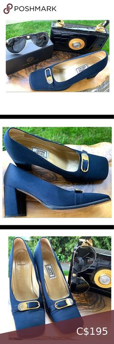 I just added this listing on Poshmark: Versace Shoes Satin Medusa Square Toe Pump Blue. #shopmycloset #poshmark #fashion #shopping #style #forsale #Versace #Shoes High Heel Loafers, High Heels, Shoes Heels, Versace Shoes, Cheap Designer Shoes, Blue Pumps, Black Trim, Medusa