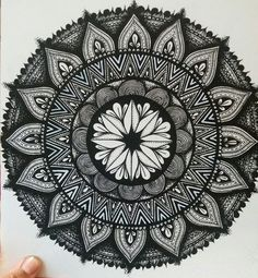 Black and white mandala that I had been working on, I used posca markers...