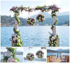 Side Effects Floral design set up a wedding ceremony site at Evergreen Lake House  Colorado Wedding Vendors, Colorado Wedding Florist, Evergreen Wedding Florist