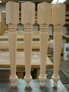 Table legs from Century Porch Post Inc. Furniture Legs, Table Furniture, Porch Posts, Wood Carving Art, Wood Turning Projects, Wood Lathe, Woodturning, Table Legs, Chipboard