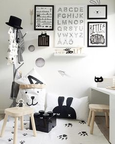Black & white kids room decor