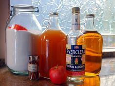 Apple Pie Liqueur* -- (quickversion) - Other Fun Stuff to Preserve -    Really cool but if it's made with Everclear I might die when I drink it.... wonder if I can make it with something that won't quite kick my butt as hard.