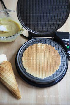 3 Ways to Make and Eat Waffle Cones - Ella Claire Waffle Cone Recipe, Waffle Cone Maker, Waffle Maker Recipes, Ice Cream Treats, Ice Cream Desserts, Ice Cream Recipes, Kid Desserts, Frozen Desserts, Frozen Treats