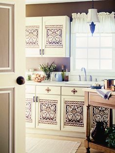 How to Update a Cabinet Door with Multilayer Stenciling Give a plain brown cabinet door old-world style with multiple layers of stenciling. We show you how