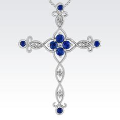 This gorgeous cross pendant is crafted from superior quality 14 karat white gold and features eight round sapphires, at approximately .43 carat TW, five round diamonds, at approximately .06 carat TW, and one princess cut diamond, at approximately .02 carat. The look is complete with the addition of a matching 18-inch box chain. The total gem weight is approximately .51 carat.