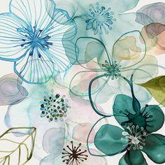 Aqua | Sea greenish | Teal | painting, watercolour | Margaret Berg Art